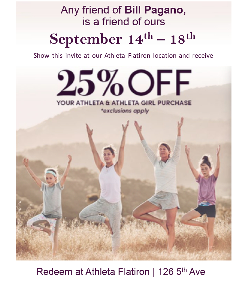 Athleta Flatiron NYC September Tai Chi Bill Pagano Invitation Coupon